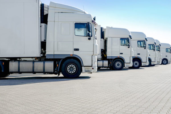 commercial trucks lined up